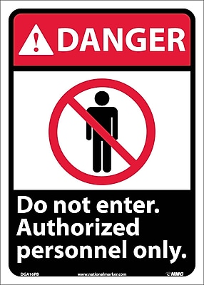 Danger, Do Not Enter Authorized Personnel Only (W/Graphic), 14X10, Adhesive Vinyl