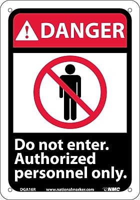 Danger, Do Not Enter Authorized Personnel Only (W/Graphic), 10X7, Rigid Plastic