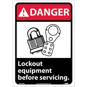 Danger, Lock Out Equipment Before Servicing (W/Graphic), 14X10, Adhesive Vinyl