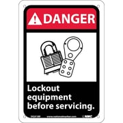 Danger, Lock Out Equipment Before Servicing (W/Graphic), 10X7, Rigid Plastic