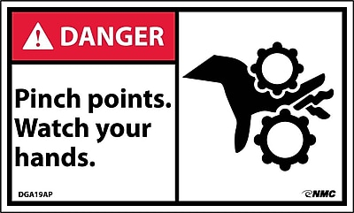 Labels - Danger, Pinch Points Watch Your Hands (Graphic), 3X5, Adhesive Vinyl, 5/Pk