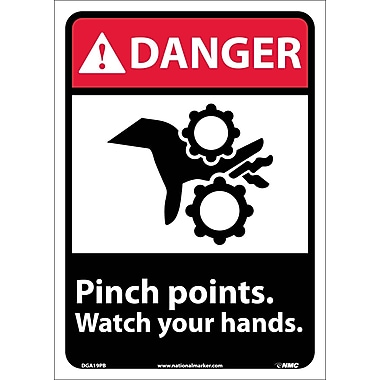 Danger, Pinch Points Watch Your Hands (W/Graphic), 14X10, Adhesive Vinyl
