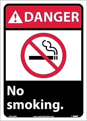 Danger, No Smoking (W/Graphic), 14X10, Adhesive Vinyl