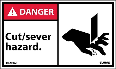 Labels - Danger, Cut/Sever Hazard (Graphic), 3X5, Adhesive Vinyl, 5/Pk