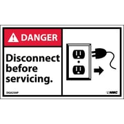 Labels - Danger, Disconnect Before Servicing (Graphic), 3X5, Adhesive Vinyl, 5/Pk