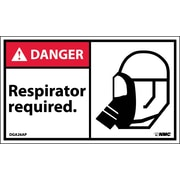Labels - Danger, Respirator Required (Graphic), 3X5, Adhesive Vinyl, 5/Pk