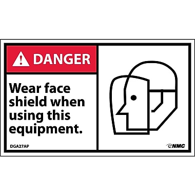 Labels - Danger, Wear Face Shield When Using This Equipment (Graphic), 3X5, Adhesive Vinyl, 5/Pk