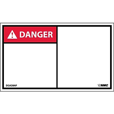 Labels - Danger, Blank, 3X5, Adhesive Vinyl, 5/Pk