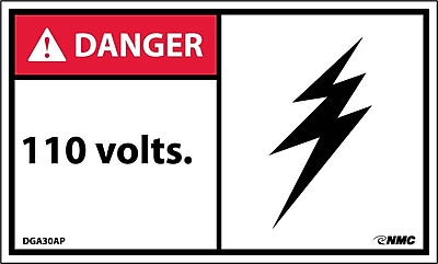 Labels - Danger, 110 Volts, 3X5, Adhesive Vinyl, 5/Pack
