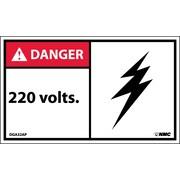 Labels - Danger, 220 Volts, 3X5, Adhesive Vinyl, 5/Pk