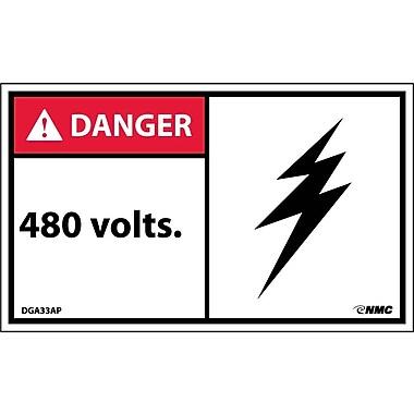 Labels - Danger, 480 Volts, 3X5, Adhesive Vinyl, 5/Pack