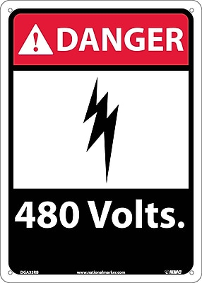 Danger, 480 Volts, 14X10, Rigid Plastic