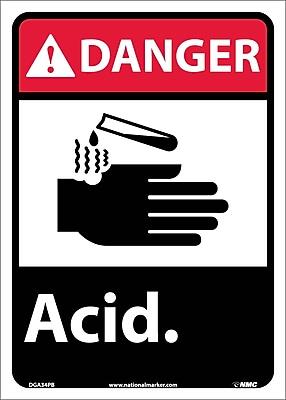 Danger, Acid, 14X10, Adhesive Vinyl