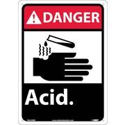 Danger, Acid, 14X10, Rigid Plastic
