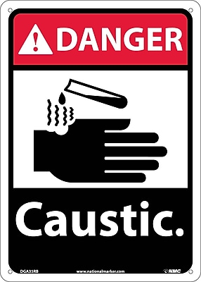 Danger, Caustic, 14X10, Rigid Plastic