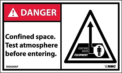 Labels - Danger, Confined Space Test Atmosphere Before Entering, 3X5, Adhesive Vinyl, 5/Pk