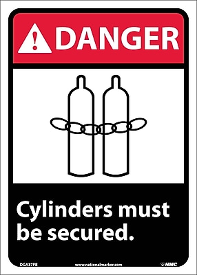 Danger, Cylinders Must Be Secured, 14X10, Adhesive Vinyl