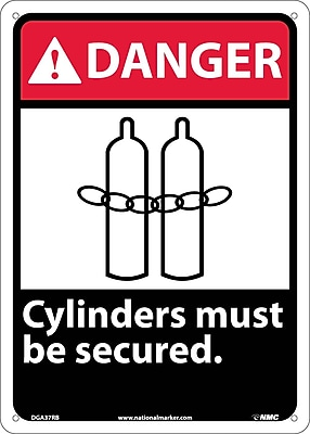 Danger, Cylinders Must Be Secured, 14X10, Rigid Plastic