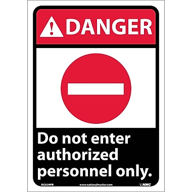 Danger, Do Not Enter Authorized Personnel Only, 14X10, Adhesive Vinyl