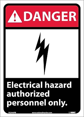 Danger, Electrical Hazard Authorized Personnel Only, 14X10, Adhesive Vinyl