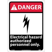 Danger, Electrical Hazard Authorized Personnel Only, 14X10, Rigid Plastic