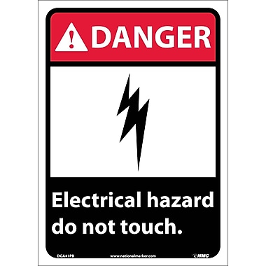 Danger, Electrical Hazard Do Not Touch, 14X10, Adhesive Vinyl