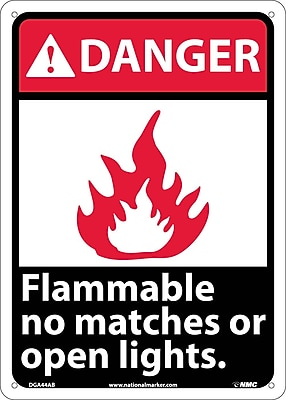 Danger, Flammable No Matches Or Open Lights, 14X10, .040 Aluminum