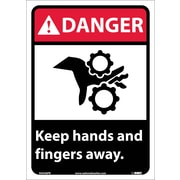 Danger, Keep Hands And Fingers Away, 14X10, Adhesive Vinyl