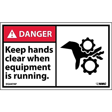 Labels - Danger, Keep Hands Clear When Equipment Is Running, 3X5, Adhesive Vinyl, 5/Pk