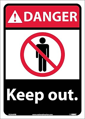 Danger, Keep Out, 14X10, Adhesive Vinyl
