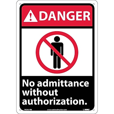 Danger, No Admittance Without Authorization, 14X10, Rigid Plastic