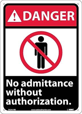 Danger, No Admittance Without Authorization, 14X10, Rigid Plastic