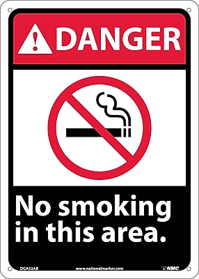 Danger, No Smoking In This Area, 14X10, .040 Aluminum