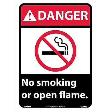 Danger, No Smoking Or Open Flame, 14X10, Adhesive Vinyl