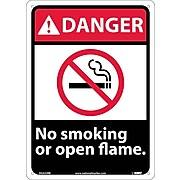 No Smoking Or Open Flame, 14X10, Rigid Plastic, Danger Sign