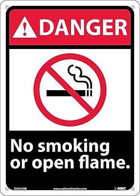 Danger, No Smoking Or Open Flame, 14X10, Rigid Plastic