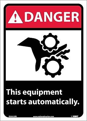 Danger, This Equipment Starts Automatically, 14X10, Adhesive Vinyl