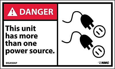 Labels - Danger, This Units Has More Than One Power Source, 3X5, Adhesive Vinyl, 5/Pk