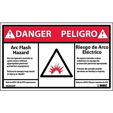 Labels - Danger, Arc Flash And Shock Hazard, Bilingual, (Graphic), 3X5, Adhesive Vinyl, 5/Pk