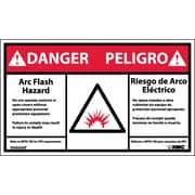 Labels - Danger, Arc Flash And Shock Hazard, Bilingual, (Graphic), 3X5, Adhesive Vinyl, 5/Pk