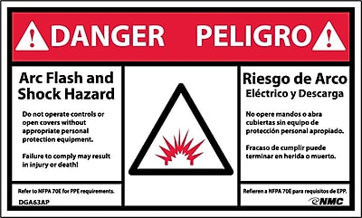 Labels - Danger, Arc Flash Hazard, Bilingual, (Graphic), 3X5, Adhesive Vinyl, 5/Pk