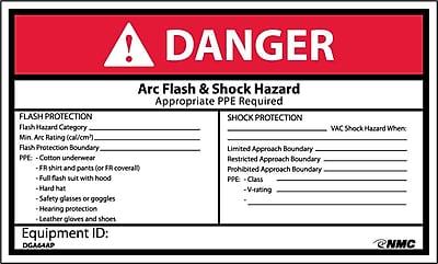 Labels - Danger, Arc Flash & Shock Hazard, 3X5, Adhesive Vinyl, 5/Pk