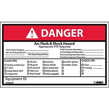 Labels Danger, Arc Flash & Shock Hazard, 3