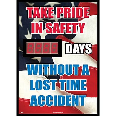 Take Pride In Safety Without A Lost Time Accident (American Flag Graphic) 20 X 28, .085 Styrene