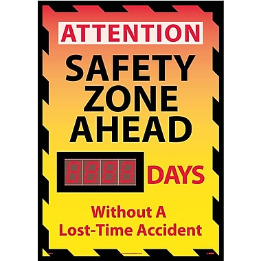 Digital Scoreboard, Attention Safety Zone Ahead Xxx Days Without A Lost-Time Accident