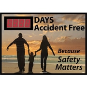Digital Scoreboard, Xxx Days Accident Free  Because Safety Matters, 28X20, .085 Styrene