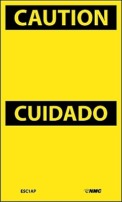 Labels - Caution Cuidado, Blank, 5X3, Adhesive Vinyl, 5/Pk