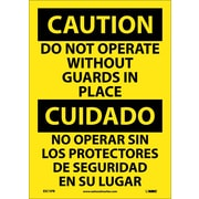 Caution, Do Not Operate Without Guards In Place (Bilingual), 14X10, Adhesive Vinyl