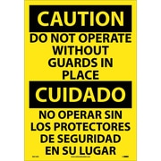 Caution, Do Not Operate Without Guards In Place (Bilingual), 20X14, Adhesive Vinyl