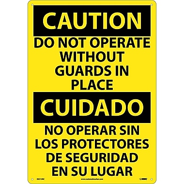 Caution, Do Not Operate Without Guards In Place (Bilingual), 20X14, Rigid Plastic